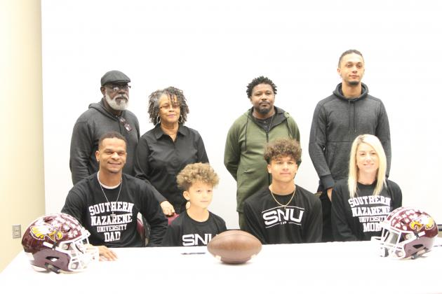 McWilliams' family was there to support the Senior's signing with Bethany, Oklahoma's Southern Nazarene University.