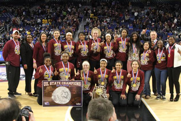 The Lady Eagles were celebrated at halftime of the night's final game at the Alamodome.