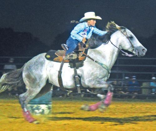 Paige Emmons of Fairfield competed in barrel racing during the 2020 Youth Rodeo. Photo by Mitchell Pate